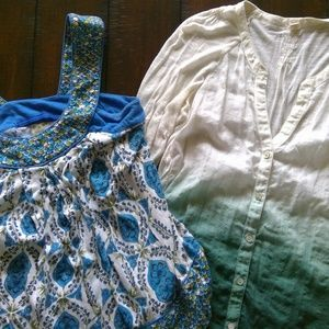 Lot of 2 Anthropologie Tops Size XS